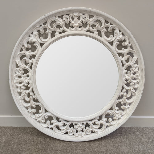 Distressed White Round Mirror