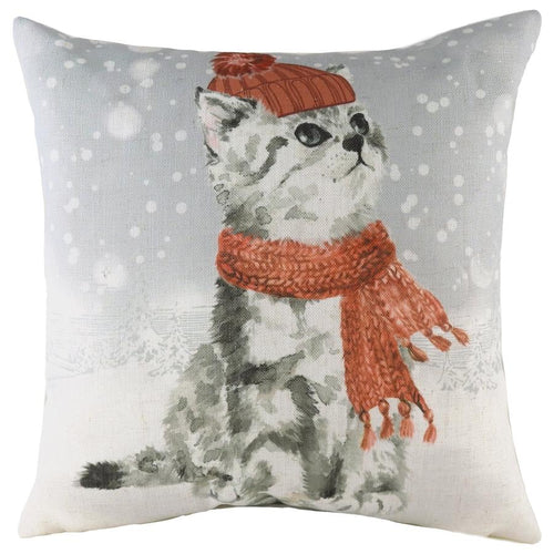 Evans Lichfield Snowy Cat with Scarf Cushion