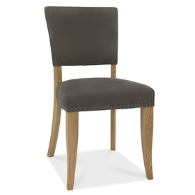 Bentley Designs Indus Rustic Oak Upholstered Chairs - Dark Grey