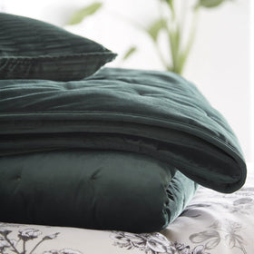 Karen Millen Emerald Velvet Quilted Throw