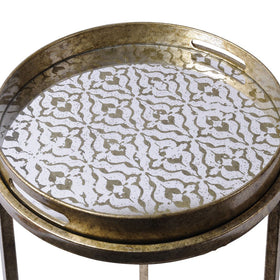 The Libra Company Vienna Antique Gold Diamond Set of Nesting Side Tables | Taylors on the High Street