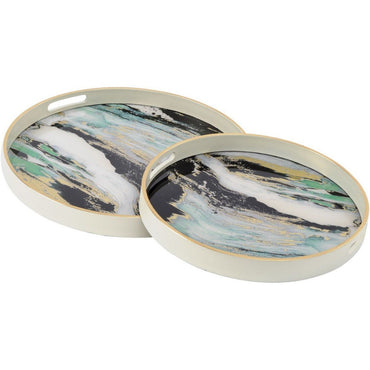 The Libra Company Marino Green Marble Effect Set of Nesting Side Tables | Taylors on the High Street