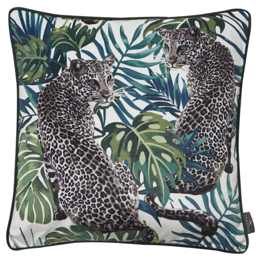 Malini Juniper Leopard Love Cushion | Taylors on the High Street