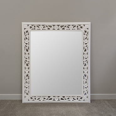 Large White Framed Rectangle Mirror