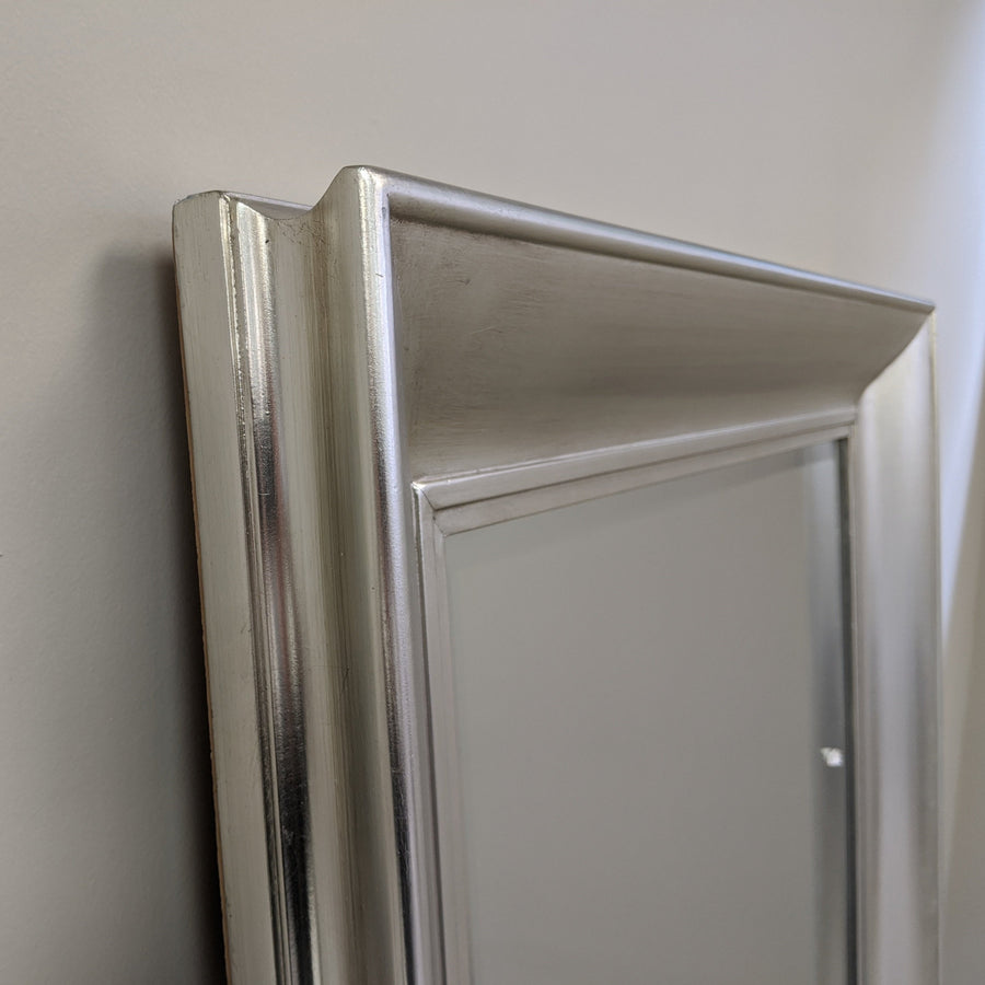 Silver Beveled Wood Frame Mirror