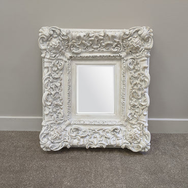 Distressed White detailed Mirror with Oversized Frame