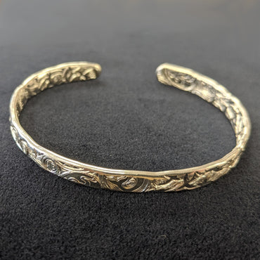 Malcolm Appleby Sterling Silver Animals and Swallows Open Bangle