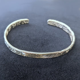 Malcolm Appleby Sterling Silver Spirals and Leaves Open Bangle