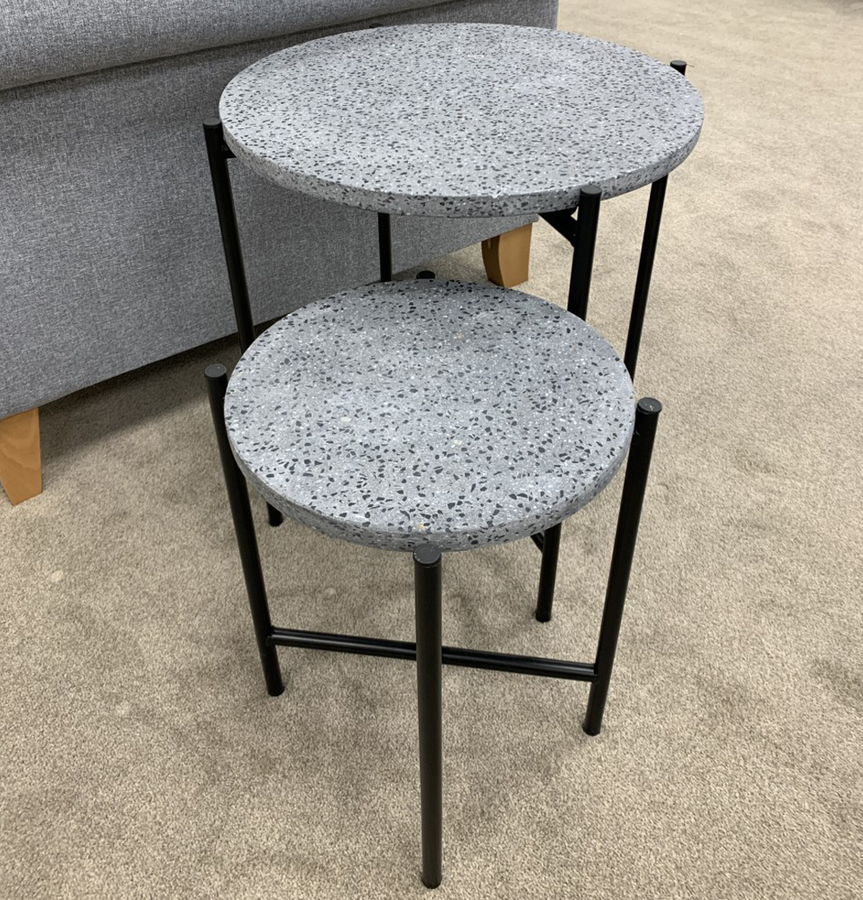 Pacific Lifestyle Black Terrazzo & Black Metal Set of Tables (Ex-Display Model) | Taylors on the High Street