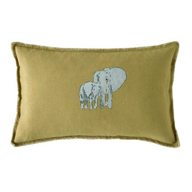 Sophie Allport ZSL Elephant Mustard Feather Cushion