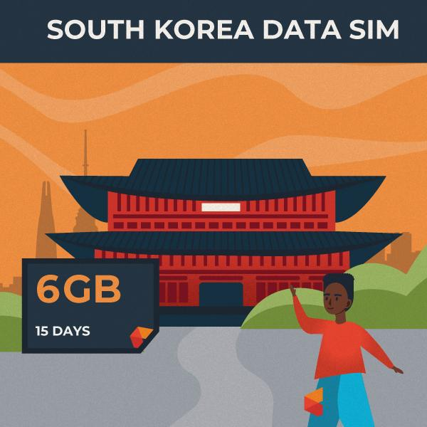 South Korea Data SIM Card (15 Day - 6GB)
