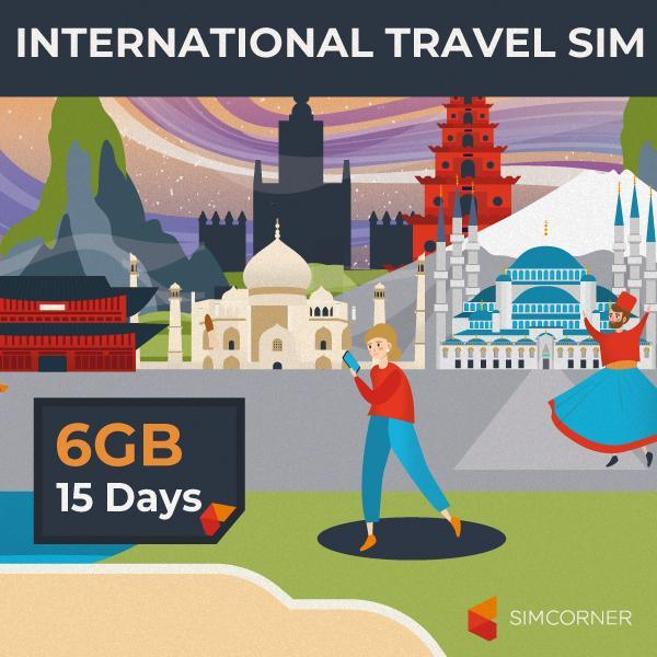 15 Day International Data Sim Card (6GB)