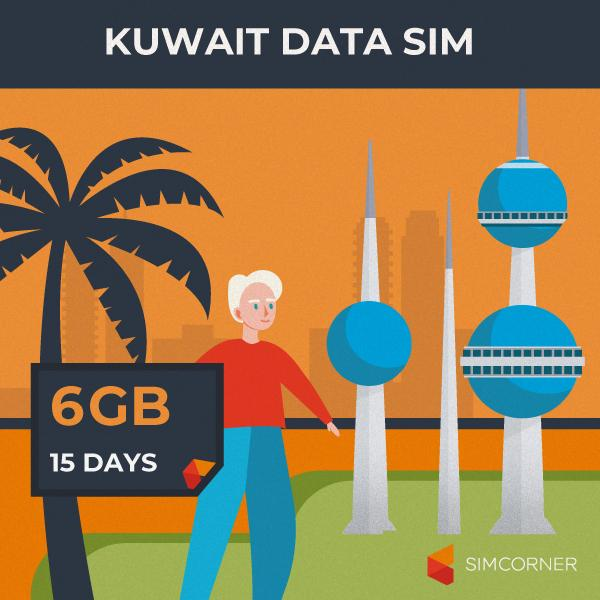 Kuwait Data SIM Card (15 Day - 6GB)