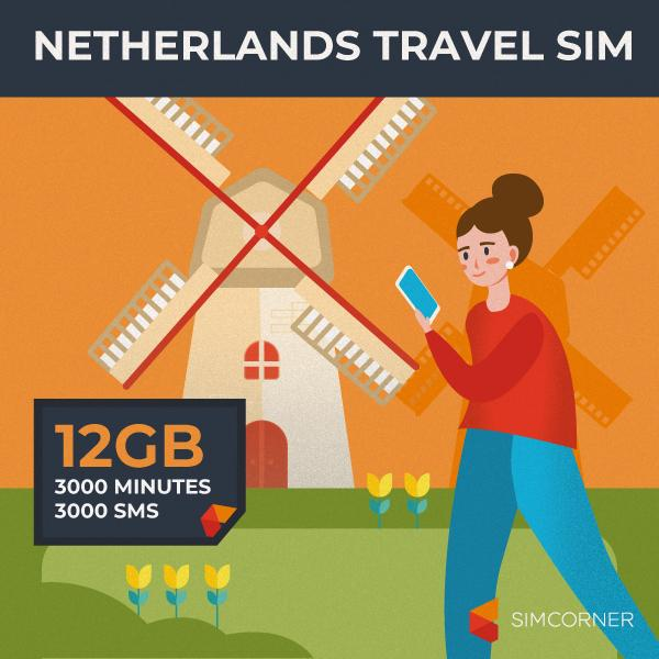 Netherlands Travel Sim Card (12GB)