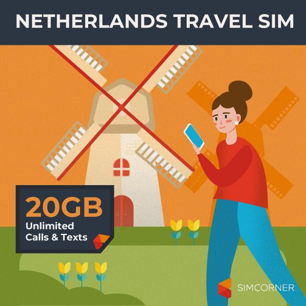 NETHERLANDS TRAVEL SIM-20GB