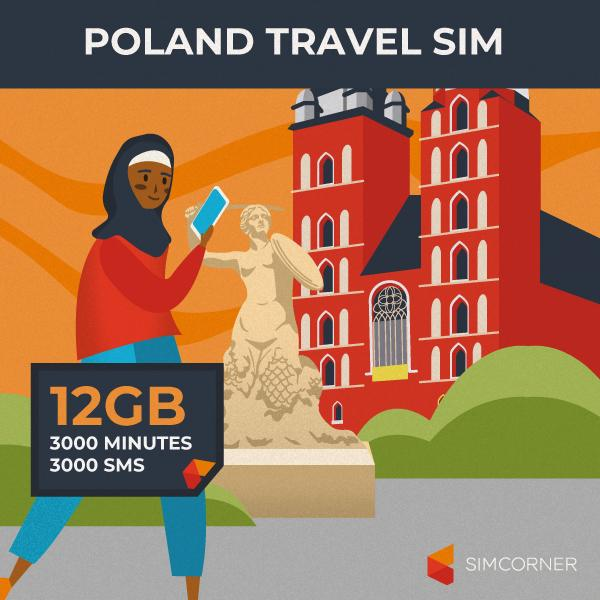 Poland Travel Sim Card (12GB)