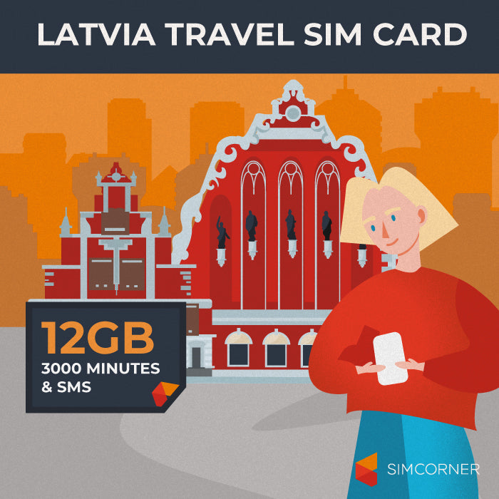Latvia Travel Sim Card (12GB)