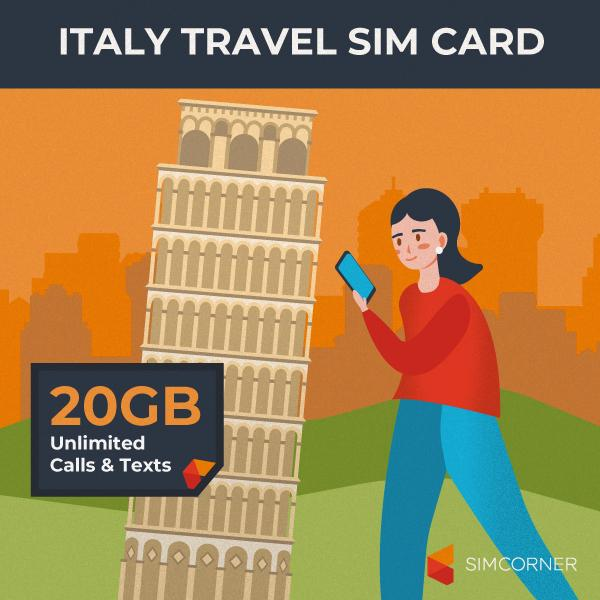 Italy Travel Sim Card (20GB)