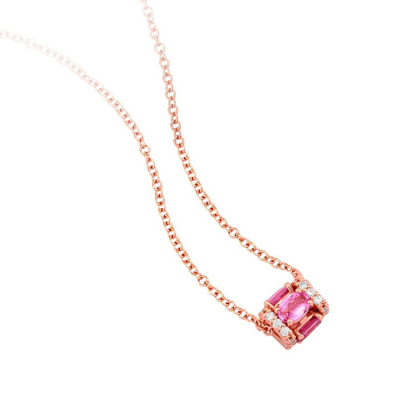 Faro pendant in 18K rose gold with pink sapphires and white diamonds