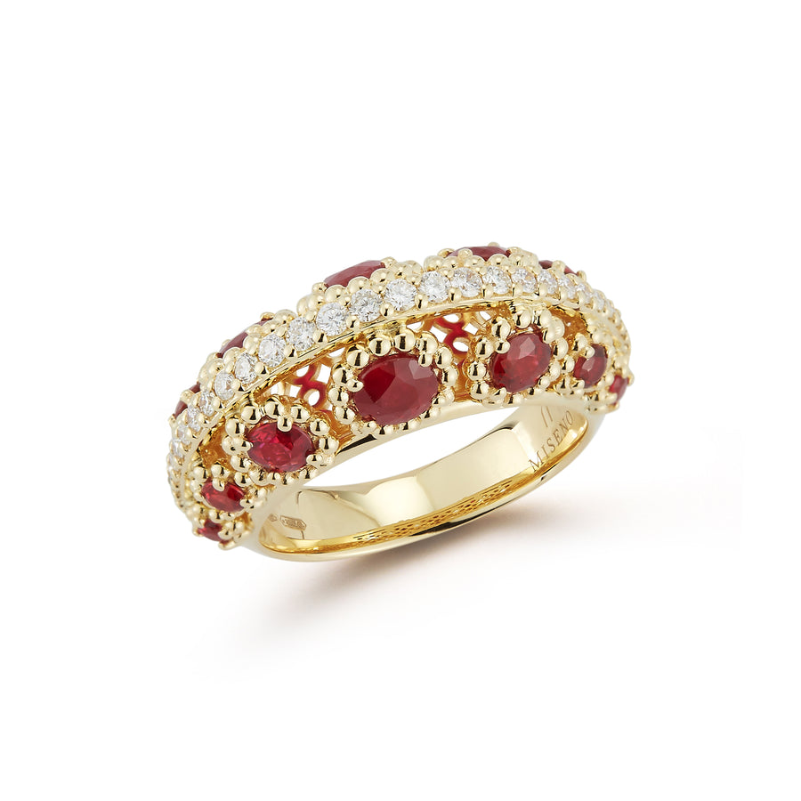 Marea ring 18K RG with diamond row on top and ruby flowers