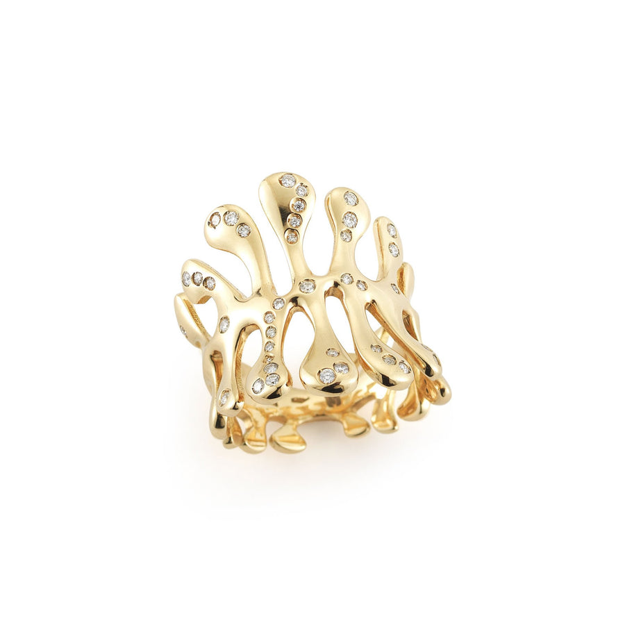 Sea Leaf yellow gold diamond ring