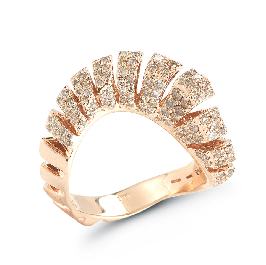 Ventaglio ring in 18K rose gold with brown diamonds