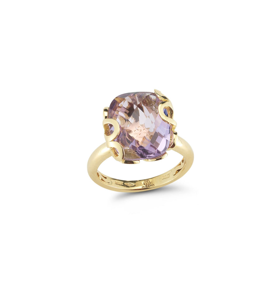 Sea Leaf yellow gold setting, set with amethyst