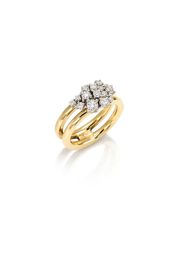 2 band ring in 18K yellow gold with fvs1 diamond cluster top
