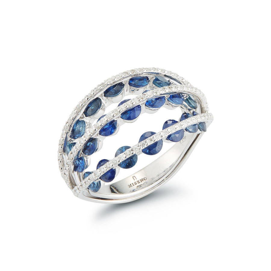 Marea 3 row ring in 18 K white gold with white diamonds and blue sapphires