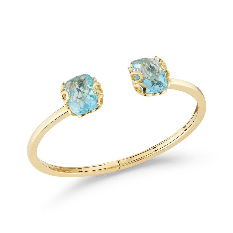 Sea Leaf bracelet in 18K yellow gold with 2 blue topaz stones