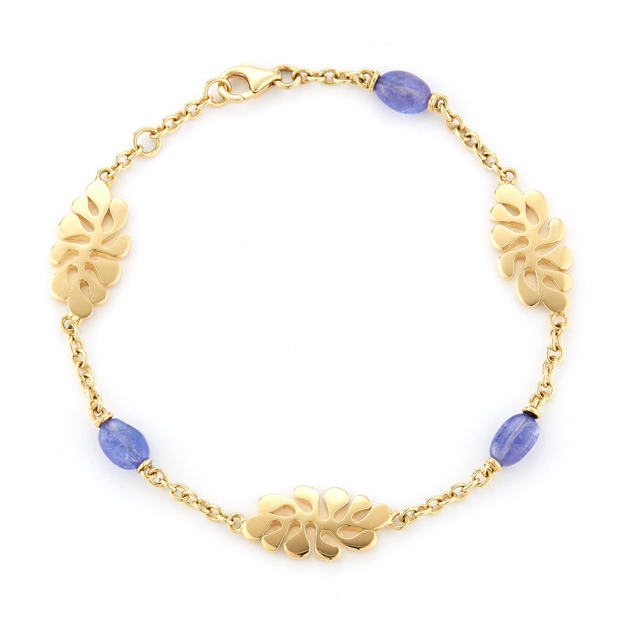 18K yellow gold bracelet with aqua stones 3 stations