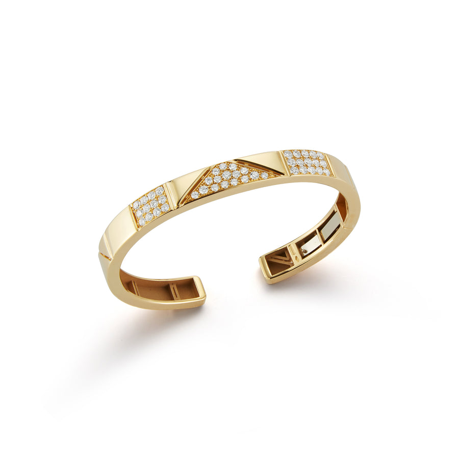 Baia small cuff in 18K yellow gold with 3 elements of white pave diamonds