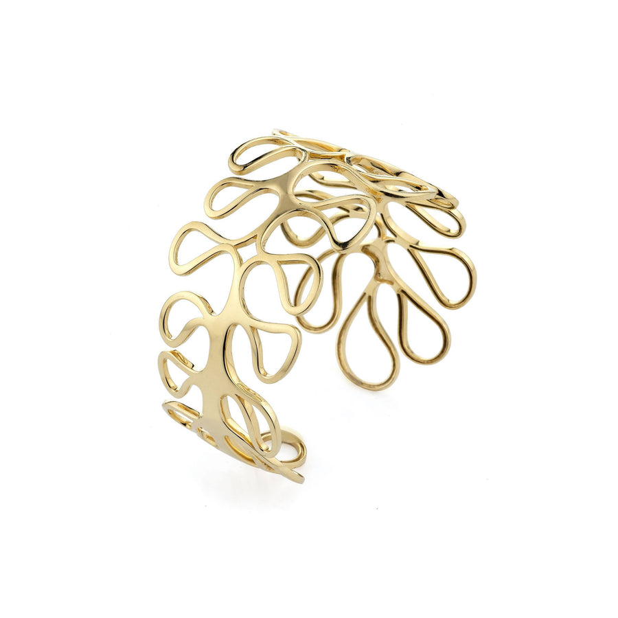 Sea Leaf open motif cuff with hinge