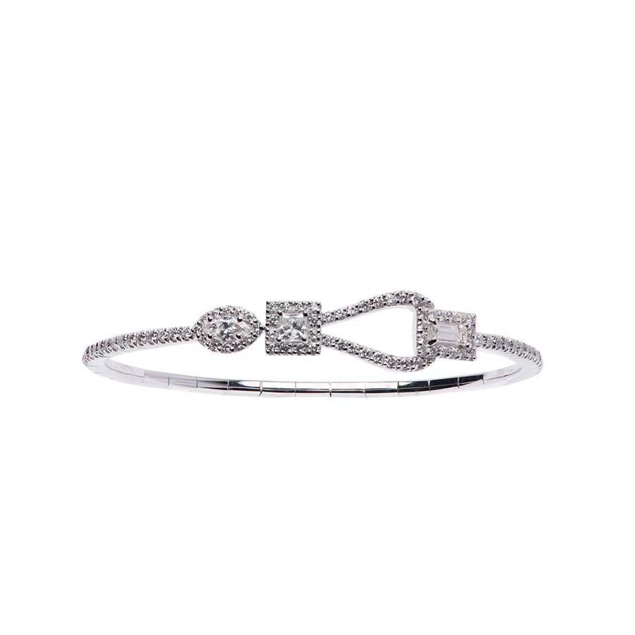 Procida  bracelet in 18K white gold and 3 different shape of diamonds