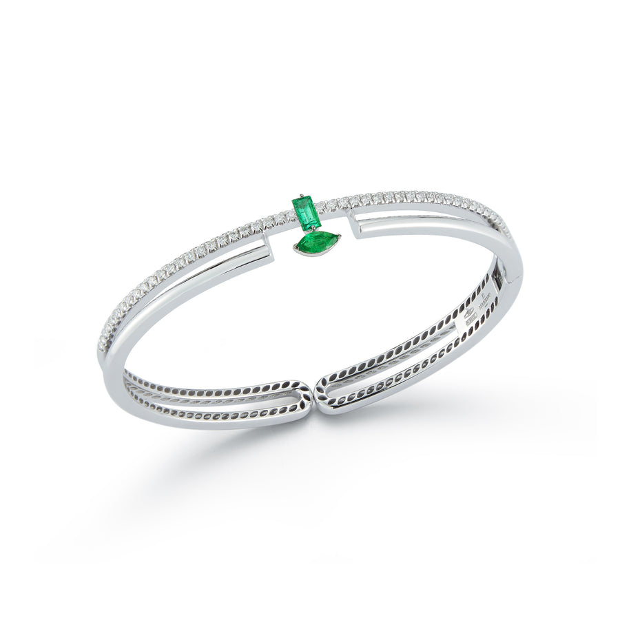 Procida bracelet in 18K white gold with white diamonds and emeralds