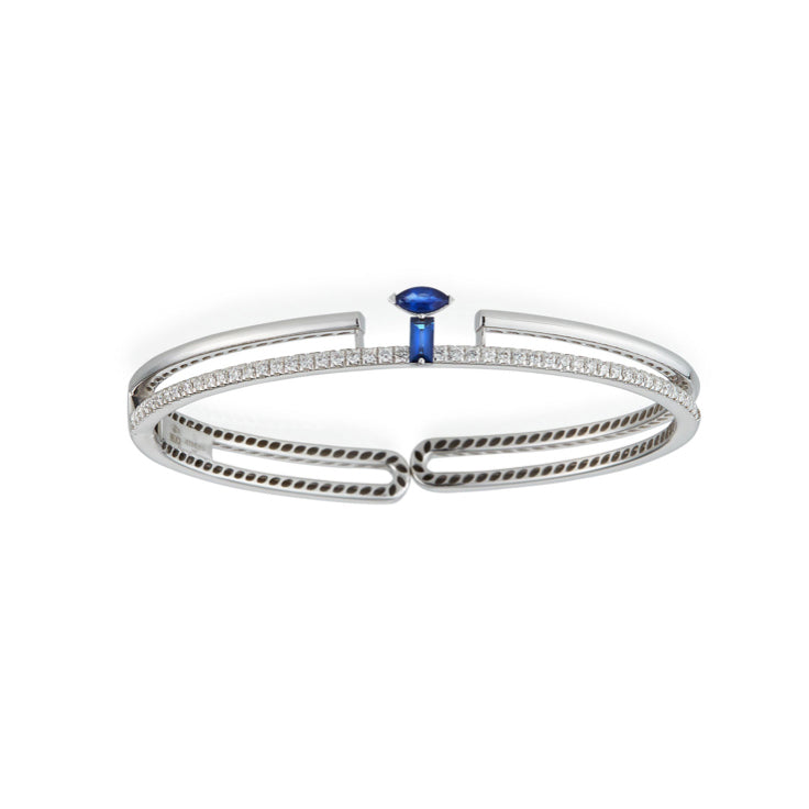 Procida bracelet in 18K white gold with white diamonds and blue sapphires