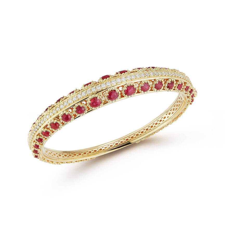 Marea bangle bracelet in 18K yellow gold with rubies and white diamonds