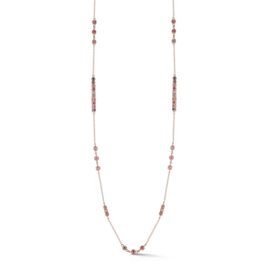 Long necklace in 18K rose gold with rotating cube elements set with multi colored sapphires