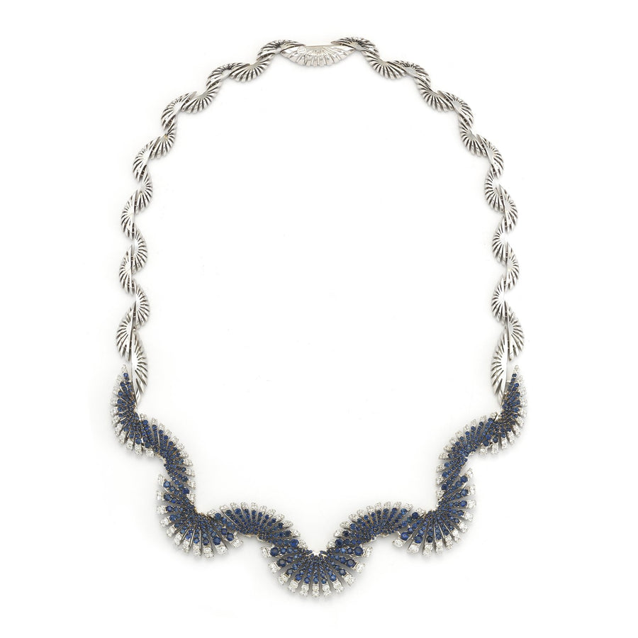 Ventaglio necklace in 18K white gold with white diamonds and blue sapphires