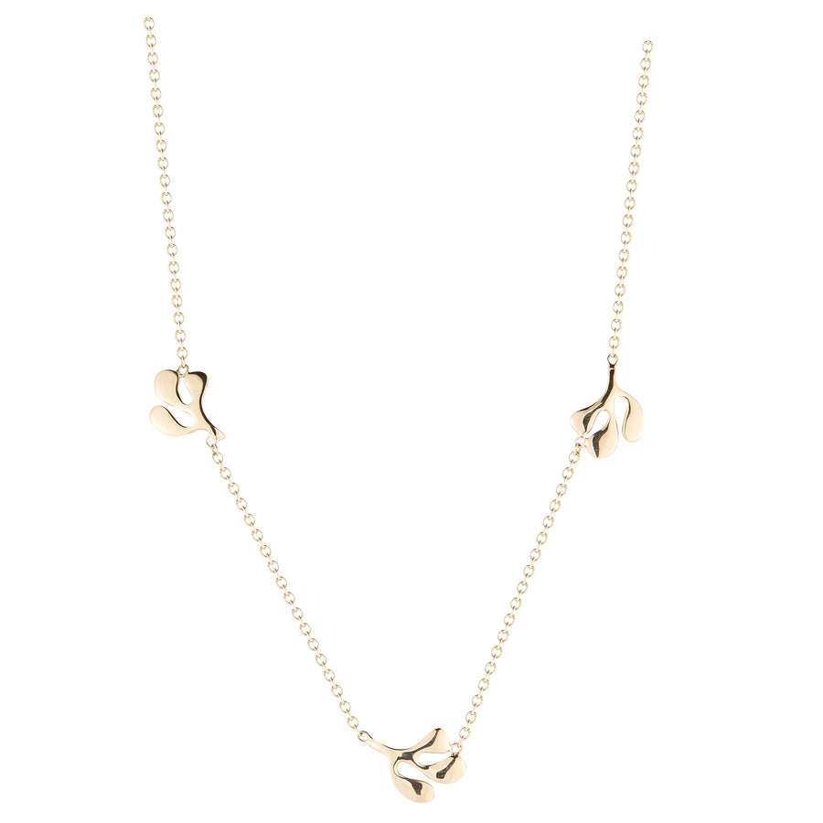 18K yellow gold necklace leaf motif with 3 stations