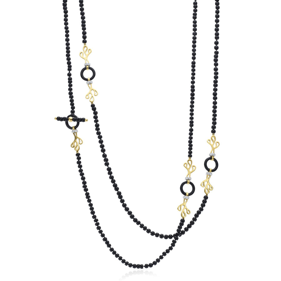 Long Sealeaf chain, featuring 18K yellow gold, diamonds and onyx