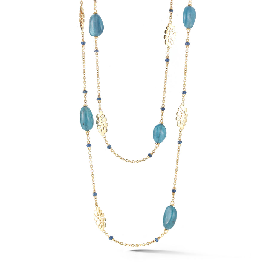 Sea Leaf long chain necklace in 18K yellow gold with aquamarine and blue sapphires