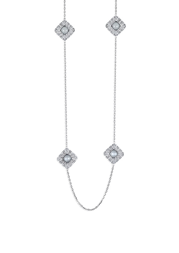 Necklace 18K white gold with dual sided pave diamond elements with moonstone