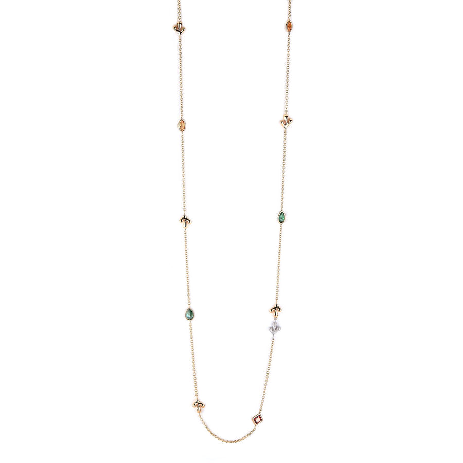 Long necklace in 18K yellow gold with small leaf motifs, multi shaped semi precious elements and pave diamonds