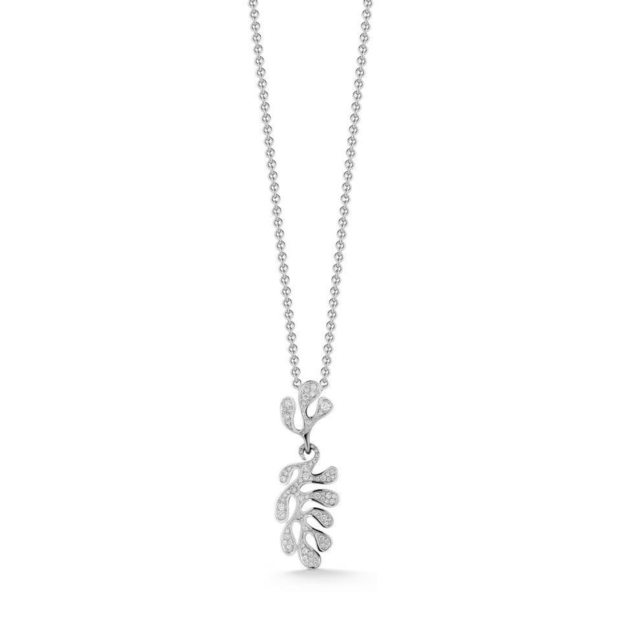 Sea Leaf pendant 18K white gold pave diamonds