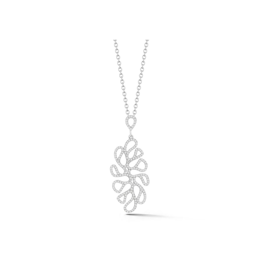 Sea Leaf open motif pendant with diamonds