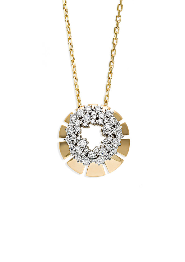 Ventaglio pendant in 18K yellow gold with open center surrounded by white diamonds