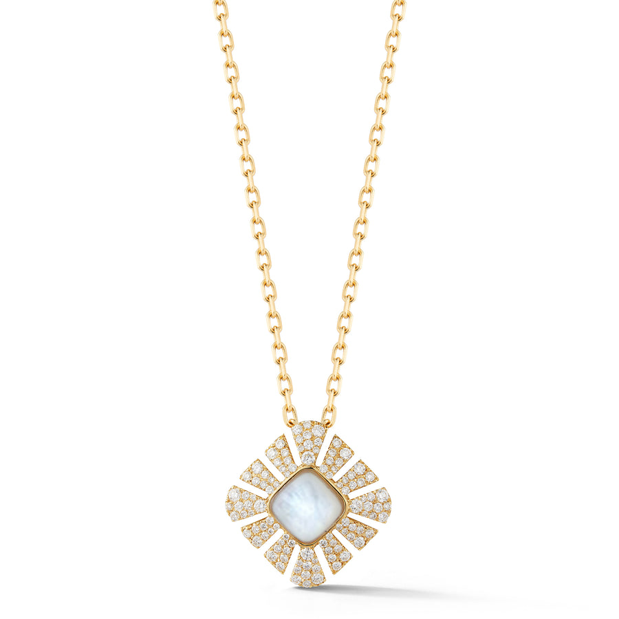 Ventaglio pendant in 18K yellow gold with pave diamonds and mother of pearl