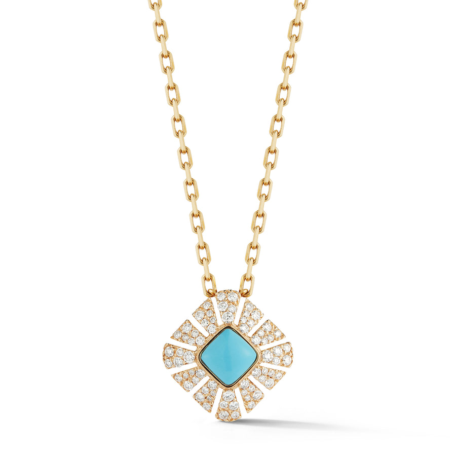 Ventaglio pendant in 18K yellow gold with white pave diamonds and turquoise center stone