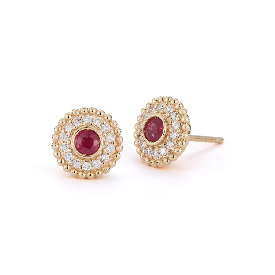 Marea stud style earrings in 18K yellow gold with white pave diamonds and rubies